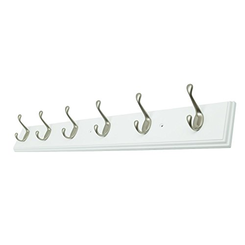 27 Inch Wide White Rail/Rack with 6 Heavy Duty Pearl Silver Coat and Hat Hook, Entryway Rack/ Bathroom Towel Hanger, Made in USA