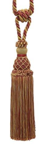 Backs Cord Tie (Elegant Burgundy Red, Gold Curtain & Drapery Tassel Tieback / 10