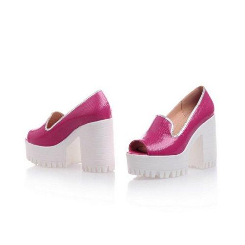 VogueZone009 Womens Open Peep Toe High Heel Platform Chunky Heels PU Soft Material Solid Sandals, Rosered, 5 UK