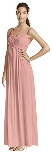 (David's Bridal Long Mesh Bridesmaid Dress with Cowl Back Detail Style F15933, Ballet, 0)