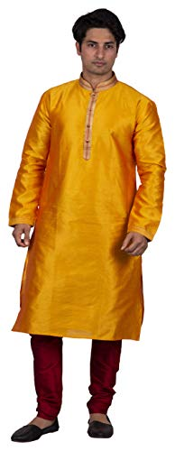 - Maharaja Mens Raw Silk Festive Kurta Pyjama Set for Weddings and Festivals in Yellow [MSKP038-38]