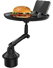 Bilplåtfack Kopphållare Fack Justerbart bilfackbord Bilmatbord Njut av din måltid och håll dig organiserad med 8 tums yta, telefonplats och 360 ° svängbar arm för alla fordonskopphållare