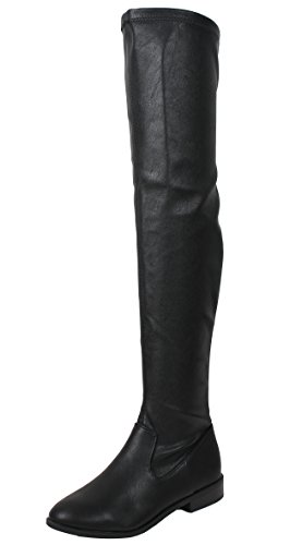 City Classified Damen Geschlossene Zehe Overknee Low Heel Boot Schwarz Pu
