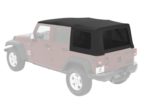 Bestop 54823-17 Supertop NX Black Twill Complete Replacement Soft Top w/ Tinted Windows for 2007-2018 Wrangler 4-Door (Best Jk Soft Top)