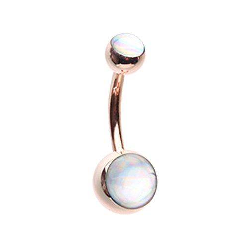 Inspiration Dezigns 14G Colorline Hologram Sparkle Rose Gold Belly Button Navel Ring