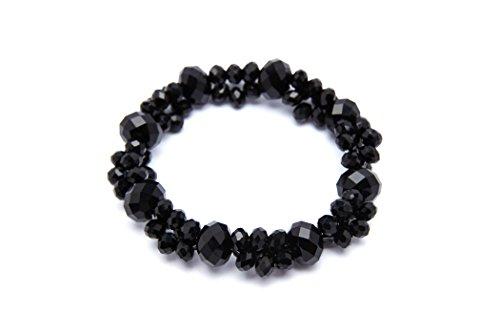 Crystal Stretch Bracelet Watch - Buddha Crystal Stretch Bracelet Small Wrist for Women Gift Box Included (Black)