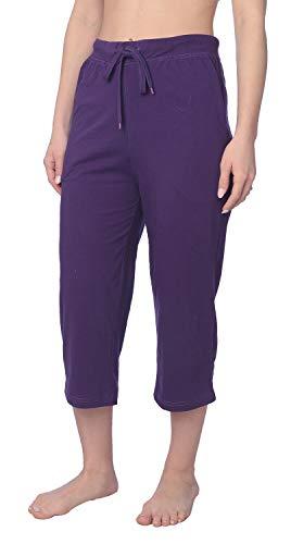 Women's Capri Jersey Knit Pajama Lounge Pant Available in Plus Size JLP1_18 Purple L