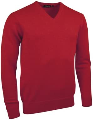 Glenmuir Mens MKL5900VN V Neck Lambswool Golf Sweater Garnet XXL