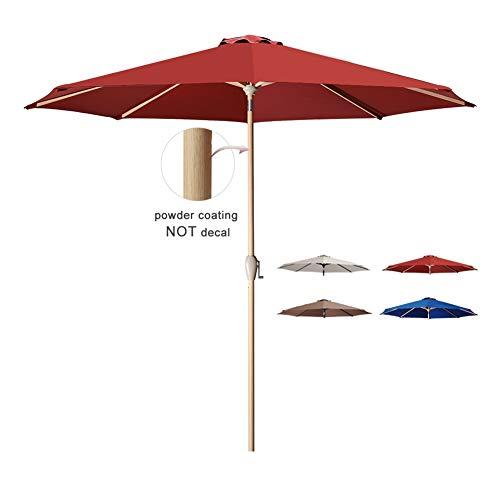 Tempera Patio Umbrella 10 Ft Outdoor Garden Table Umbrella with Crank and Auto-Tilt 8 Ribs in 200G Olefin Chili Canopy