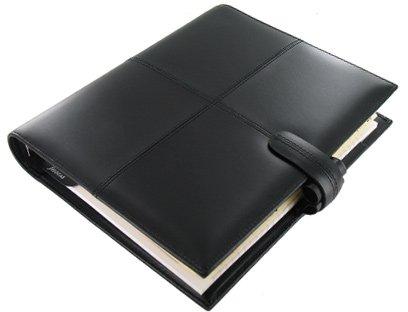 Filofax Classic (Cross) A5 size 6 rings Organiser/Agenda Black Italian colour Italian Leather 424068 paper size :148 x 210mm with Diary 2018