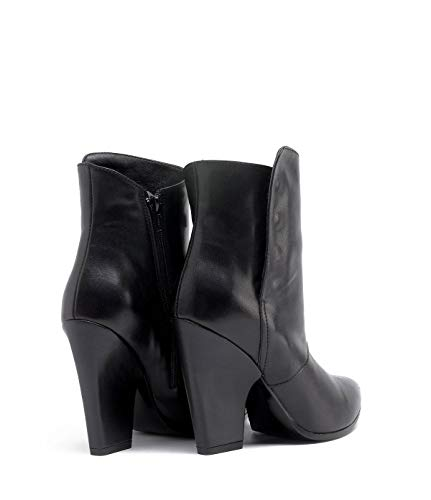 Smooth PoiLei Black Schuhe Black Heel Block Ankle Cowboy Boots Leather Sarah Damen UxpwnagUzR