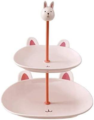 21.5x26.8cm:2ティアセラミックスフルーツプレートストレージトレイ、多層デザートはかわいいキャンディディッシュサイズのスタンド