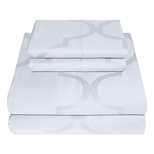 300 Thread Count Tradition Jacquard Collection 100% Cotton Sheets 3 Piece Bedsheet Set, Luxury Bedding, All Around Elastic, Fits Mattresses up to 18 inch deep Pocket, Smooth Sateen, Twin Size, White