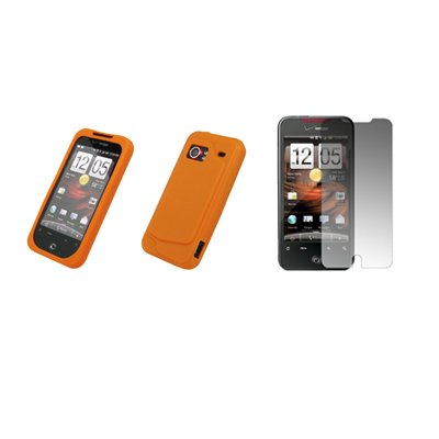 HTC Droid Incredible - Orange Soft Silicone Gel Skin Cover Case + Crystal Clear Screen Protector for HTC Droid Incredible Model 6300