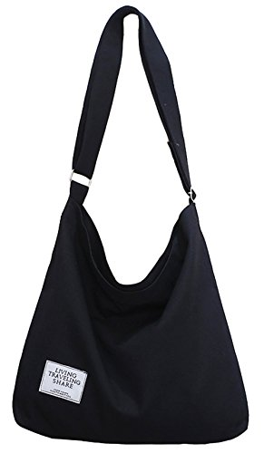Covelin Women's Retro Large Size Canvas Shoulder Bag Hobo Crossbody Handbag Casual Tote Black ()