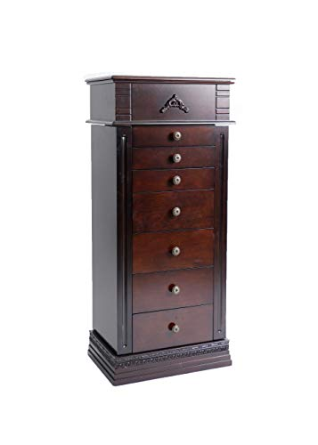 Alveare Home 8008-656 Stefani Standing Jewelry Armoire, Walnut 2 Door Walnut Armoire