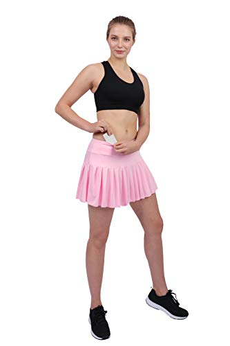 (Womens Tennis Pleated Skorts Golf Workout High Waist Biult in Skirts Sports Active Wear with Pockets Light Pink)