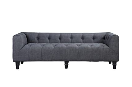 Pangea Home Z 3 Z Nathan 3 3 Seater Sofa In Fabric, Grey