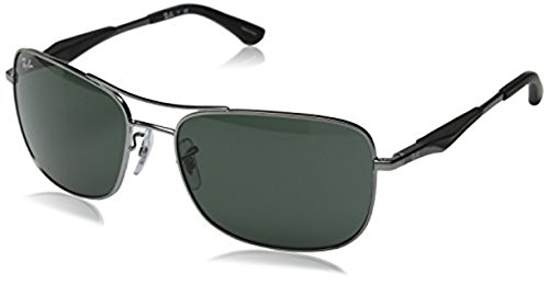 Ray-Ban RB 3515 Sunglasses Gunmetal / Green 61mm & HDO Cleaning Carekit - Ban Ray Used