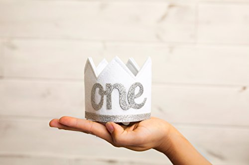 Baby Girl and Boy FIRST BIRTHDAY Sparkly Silver ONE Crown I Am 1 by Birdy Boutique (Image #3)
