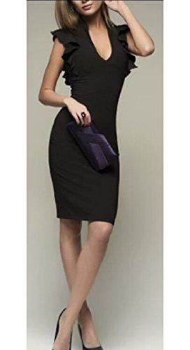 Midi Bodycon Neck Black Sleeveless Solid Pencil Fit Slim Dress V Womens Jaycargogo 0ztHw