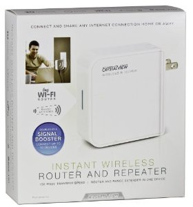 CrystalView Portable Wireless Instant Router, Repeater and Range Extender for Computers, Tablets, Smart Phones, Ebook Reader and Gaming Devices from CrystalView