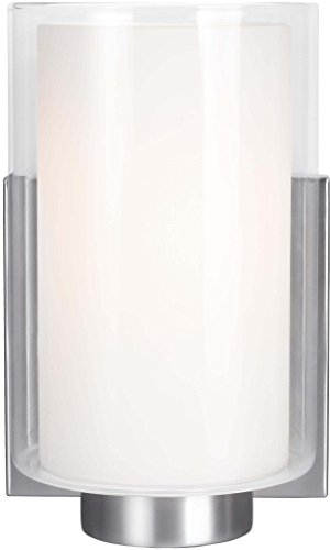 (Feiss VS22601SN Bergin Glass Wall Sconce Lighting, Satin Nickel, 1-Light (5