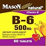 2 Pack Special of MASON NATURAL B-6 500MG TABLETS 60 per bottle For Sale