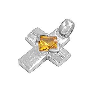 Joyara - Collier Femme Argent Fin 925/1000 Topaze Jaune Oxyde de Zirconium Grecque Croix (Vient avec une chaîne de 45 CM)