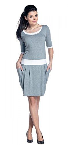 Zeta Ville - Vestido de lactancia en capas detalles del contraste - mujer - 698c Mezcla De Grises