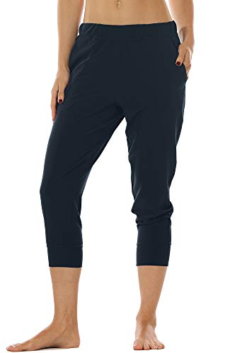- icyzone Lightweight Joggers Pants for Women - Athletic Workout Outdoor Lounge Woven Capri Pants with Pockets (M, Navy)