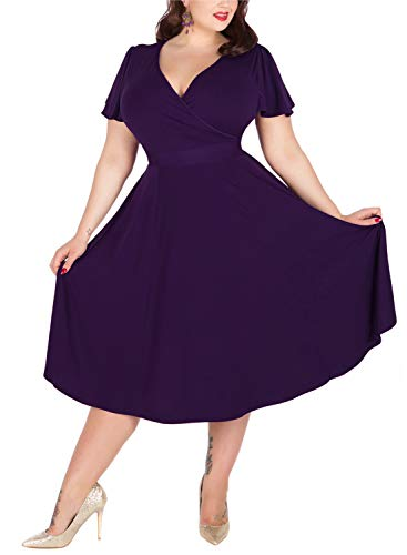 Nemidor Women's V-Neckline Stretchy Casual Midi Plus Size Bridesmaid Dress (20W, Darkpurple)