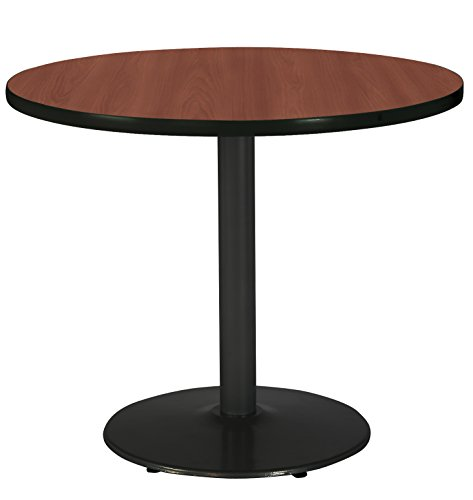 (KFI Seating Round Black Base Pedestal Table with Top, Mahogany, 36
