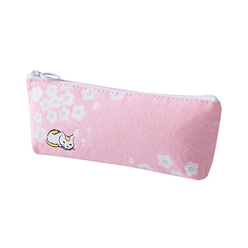 Large Capacity Pencil Pouch, Cat Pattern Zipper Storage Bag, Multifunctional Makeup Brush Pen Case Holder Box Organizer, Office College School Supplies