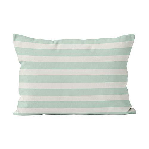 - Sokiiy Seafoam Green and Off White Stripes Hot Hidden Zipper Home Decorative Rectangle Throw Pillow Cover Cushion Case Lumbar 12x24 Inch One Side Design Printed Pillowcase