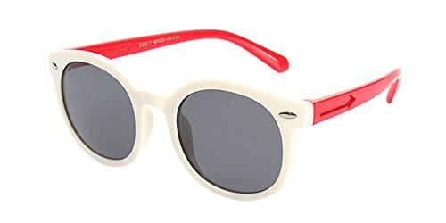 BOZEVON Unisexe Rétro Polarisées Lunettes de Soleil pour Enfants Garçons Filles Monture en caoutchouc flexible Sport Lunettes Blanc/Rouge