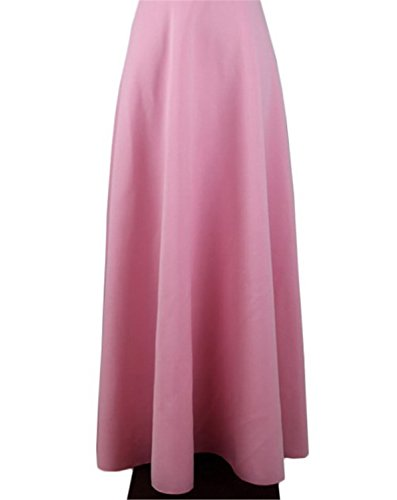 Dapengzhu S M L 5XL New High Waist Pleat Elegant Skirt Wine Red Black Solid Color Long Skirts Women 5XL Plus Size Ladies Pink S