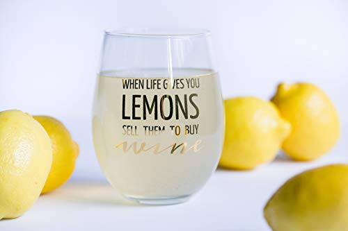 When Life Gives You LEMONS Sell Them To Buy WINE, Funny wine glass 16oz stemless   Unique novelty gift for women, men, him, her   Bachelorette, Birthday, Mom, Friend, Sister, Coworker, Aunt, Boss, BFF