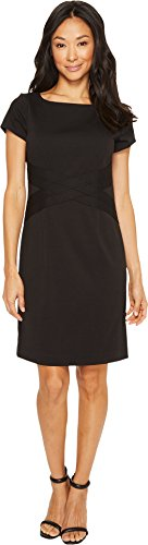 Ponte Dress (Ellen Tracy Women's Short Sleeve Ponte Dress, Black, 14)