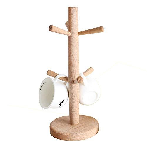 Zonyeo arte murale in legno tazza rack Tree, rimovibile in legno massiccio, supporto, porta tazze e Dry Storage Coffee Tea Cup Holder organizer appendiabiti con 6ganci