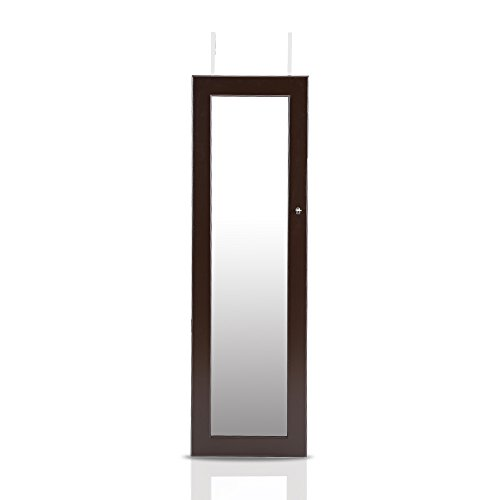 IKAYAA Hängend Spiegelschrank Schmuckschrank Türmontage/Wandmontage 119 x 35 x 9 cm -