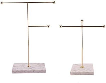 Fanuse Support de Rangement Dor/é Nordique M/éTal avec Base en Marbre Ins Chic Bijoux Modernes Boucle doreille Collier Porte-Pr/éSentoir D/éCor de Bureau Grand
