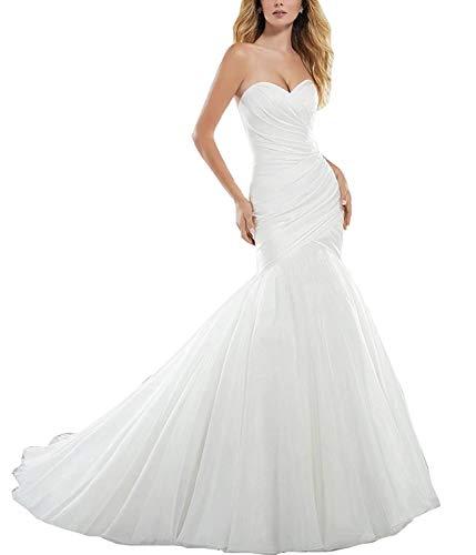 YAXIU Women's Satin Strapless Sweetheart Mermaid Long Bridal Ball Gown Wedding Dresses Floor Length -