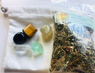 - Ravenz Roost Charm Bag kit ~ Protection ~ Handmade White Drawstring Bag ~ Spell Mix ~ Tumbled Stones