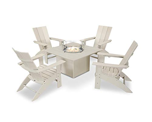POLYWOOD Modern Curveback Adirondack 5-Piece Conversation Set with Fire Pit Table in Sand
