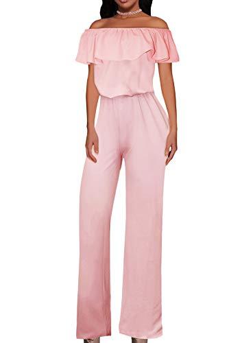 Women High Waist Wide Leg Pants Jumpsuit Romper KPVJ47696 E9000 Blush L