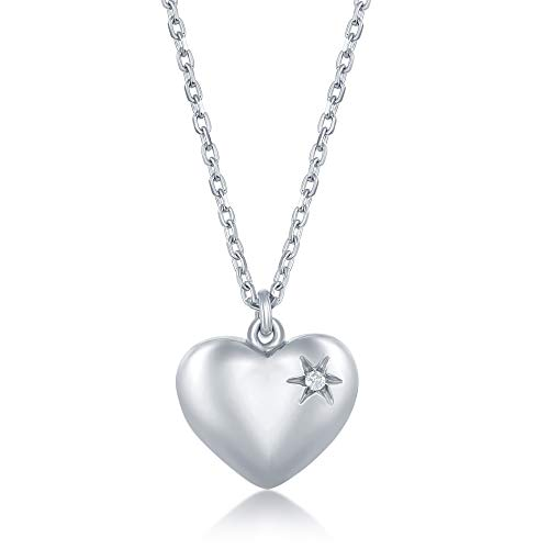 (Sterling Silver Italian High Polished 0.009cttw Diamond Puffed Heart 16+2