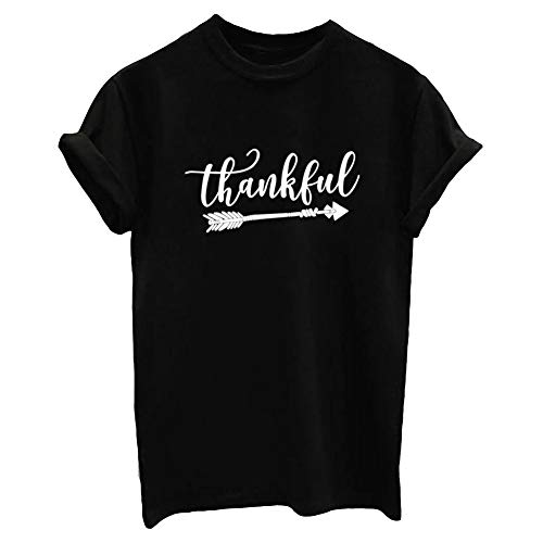 BLACKMYTH Women Graphic Thankfull Cute T Shirt(Gift Idea) Black XX-Large -