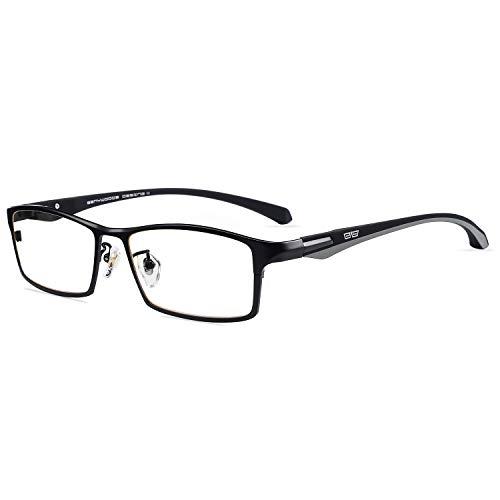- Caponi Men Titanium Eyeglasses Frame For Men Eyewear Clear Lens Flexible TR90 Temples Full Rim 9064 (Black)