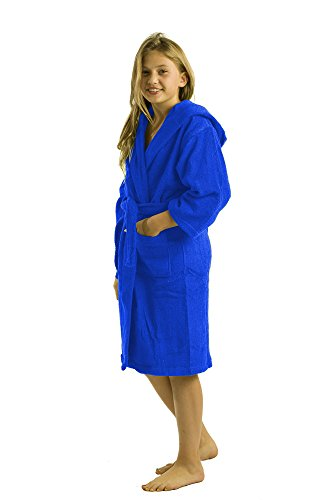 Hooded Bamboo Girls Robes, Terry Cotton Bath Coverup, Small, Royal Blue